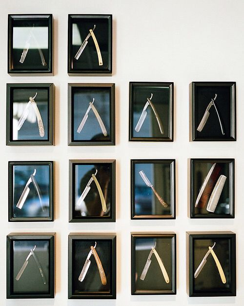 Maybe for the reception area or the wall that the wash stations are on? Would be a great way to display all of Ryan's razors from his collection.