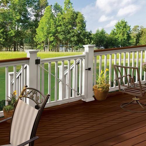 Freedom 48 In W X 42 In H Pvc Deck Railing Gate Lowes Com In 2020 Deck Railings Deck Railing Kits Pvc Decking