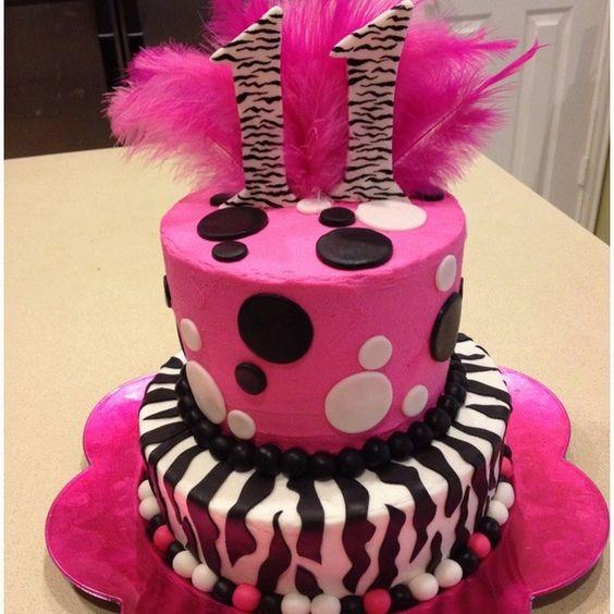 11th Birthday Cake Pink Zebra Cakes Zebra Cake Cake