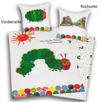 Herding 466001050 Raupe Nimmersatt Bettwäsche, 80 x 80 cm + 135 x 200 cm mit Knopfleiste, Biber / Flanell: Amazon.de: Küche & Haushalt
