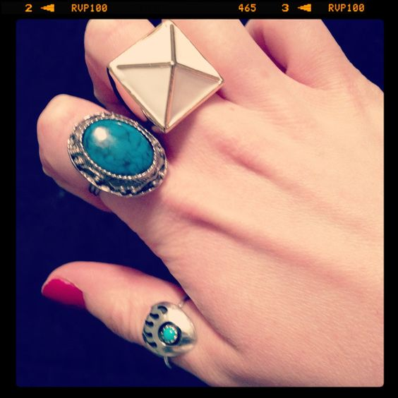 Turquoise and pyramid rings