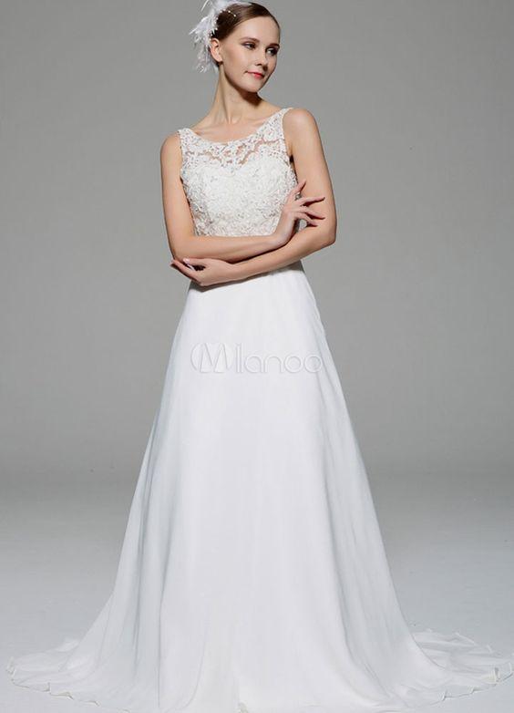 robe de mariage ivoire illusion strass dentelle robe de marie en satin milanoocom - Milanoo Robe De Soiree Pour Mariage