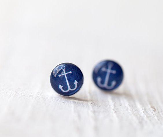 Tiny ear posts  Nautical  Anchor E101 by BeautySpot on Etsy, #blue