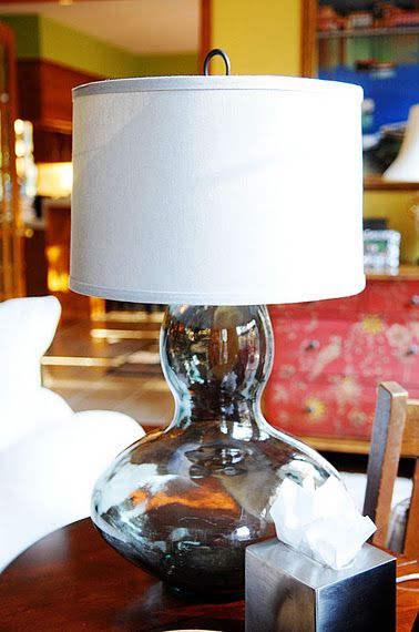 Glass vase into table lamp