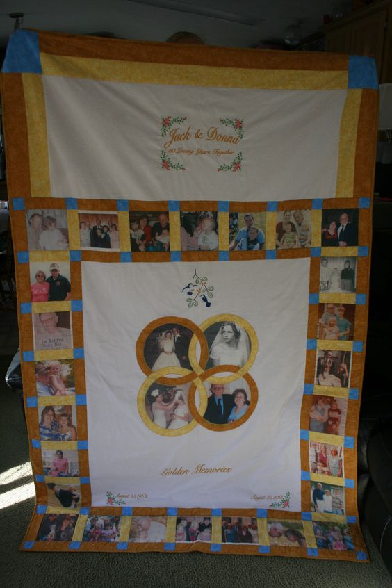 50th Anniversary Quilt I made for a friend s parents Quilts I have made Pinterest Quilt ...