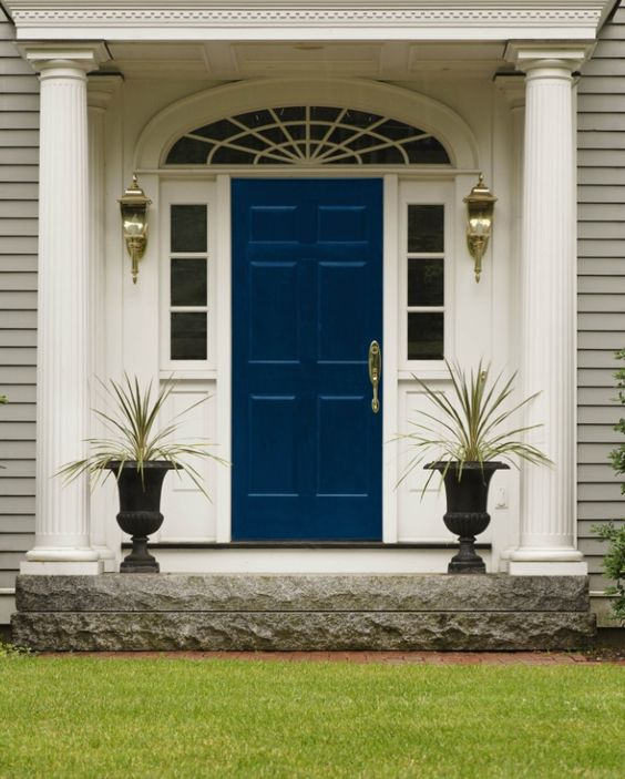 Front Door with Sherwin-Williams Dignified 6538 wow the grass looks awesome with the door: