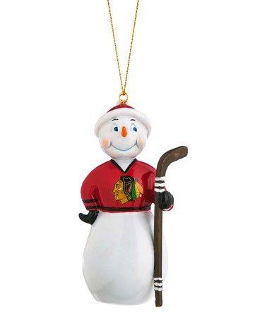 Loving this Chicago Blackhawks Jock Frost Snowman Ornament on #zulily! #zulilyfinds