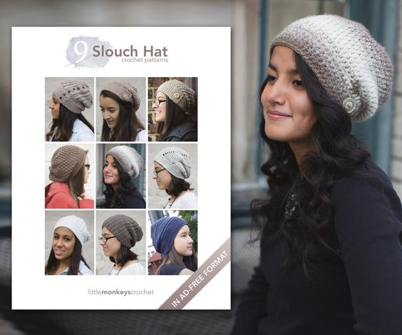 9 Slouch Hat Crochet Patterns E-Book | by Little Monkeys Crochet