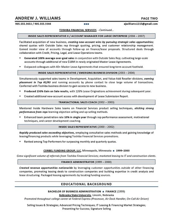 Technical Sales Resume - Executive resume writer for IT Leaders - outside sales resume