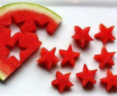 I never have to ask my kids to eat fruit let alone watermelon... but when I made theses i needed to tell them to slow down as i thought they might turn into a watermelon.. they looked great on a white plate at our BBQ and people were just amazed that I cut such perfect stars!!!! it wasn't until later someone realized I used a cookie- CUTTER! lol Summer snacks- Star Watermelon :):