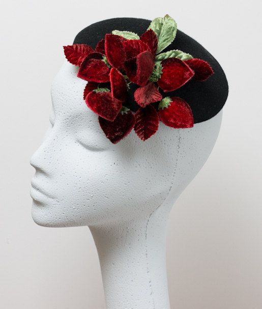 Vintage Style Pillbox Hat trimmed with Red Velvet Strawberries and Leaves.