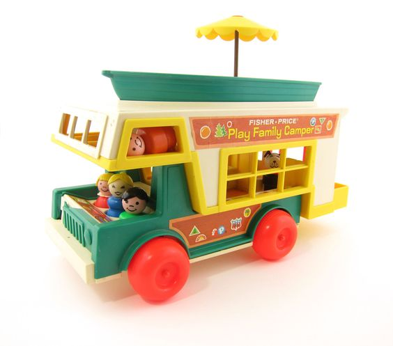 Fisher Price Camper Set with Jeep, Camper, Boat, Little People Play Family and Furniture. #vintage
