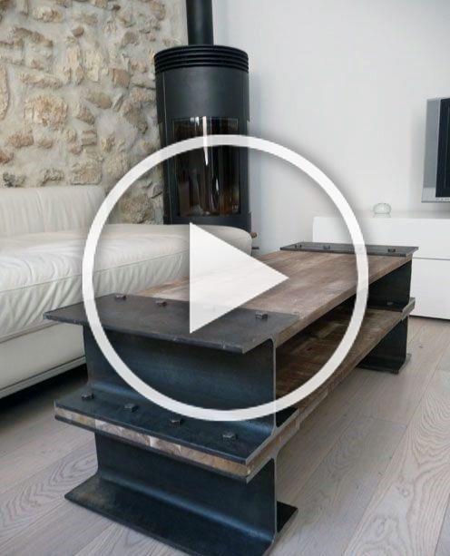 Diy Steel Beam With Wood Man Cave Furniture Table In 2020 Diy