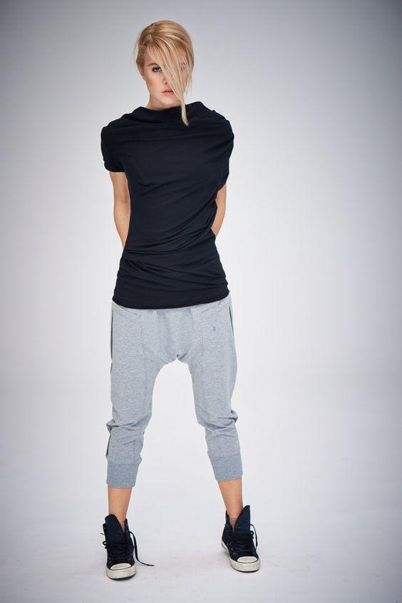 Simple Women39s Black Harem Pants Drop Crotch Trousers Wide Leg