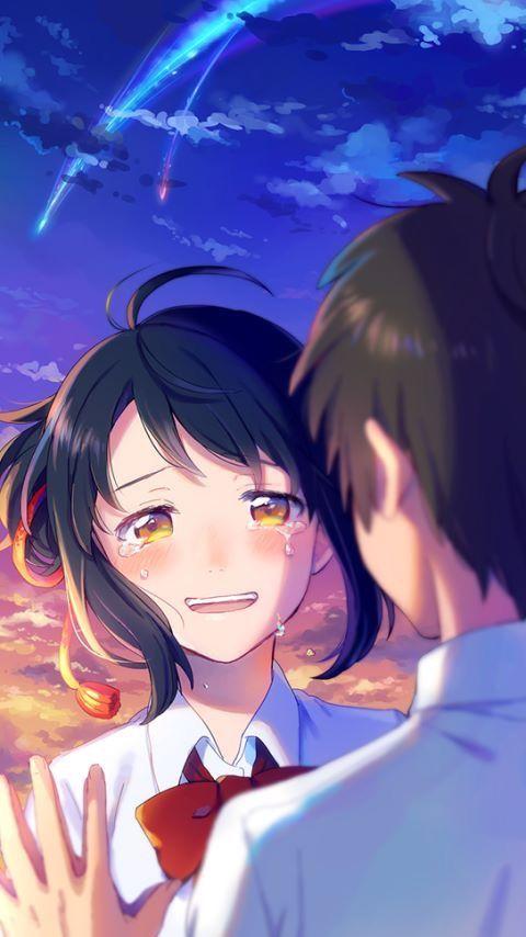 Mitsuha Kimi No Na Wa Wallpaper Couple Animasi Ilustrasi Gadis Animasi