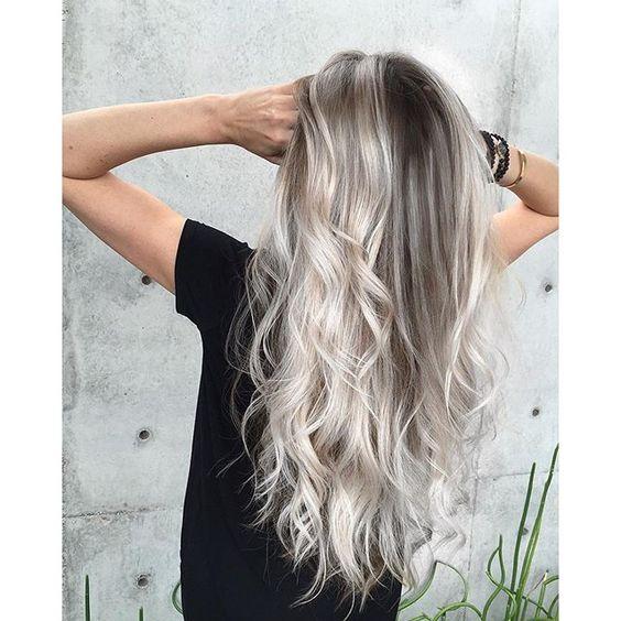 Platinum blonde and smoky hair color long hair long curly hair silver hair by Jay Wesley Olson hotonbeauty.com