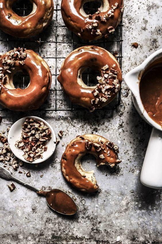 Banana Chocolate Chip Baked Doughnuts with Caramel Pecan Glaze | Twigg Studios