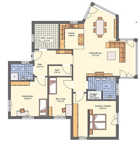 Grundriss Bungalow exklusiv modern ev planı Pinterest - offene kuche wohnzimmer grundriss