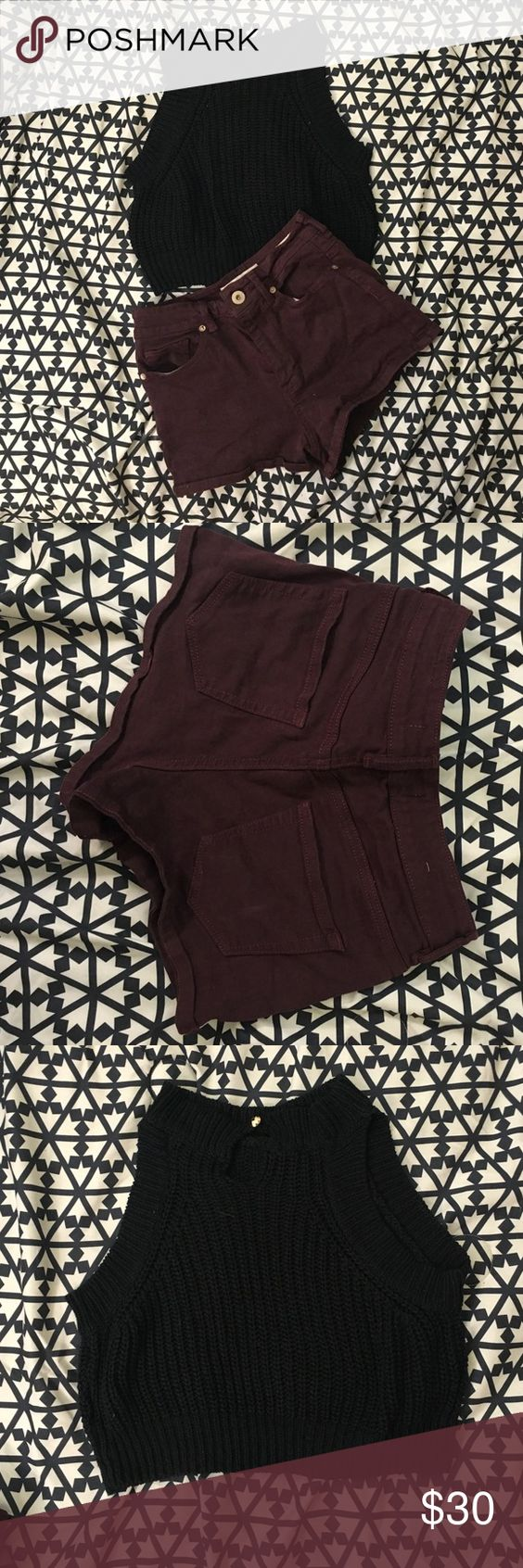 Maroon shorts and black top outfit Maroon shorts are from pac sun and the black knit crop top is from forever 21, the two go really well together, both very comfy and stretchy. Shorts size 3 and top size medium PacSun Shorts Jean Shorts