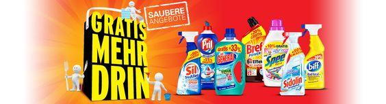 Bis zu 50 % mehr Inhalt gratis bei vielen starken Henkel-Marken wie Persil, Weißer Riese, Spee, Sil, Pril, Somat, Bref oder Sidolin und viele mehr.