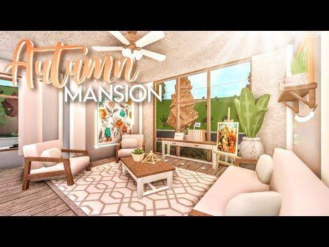 Bloxburg Autumnal Blush Mansion House Build Youtube Unique House Design Building A House Two Story House Design