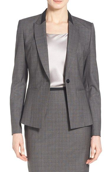 BOSS 'Janeka 4' Graphic Weave One-Button Suit Jacket (Regular & Petite)