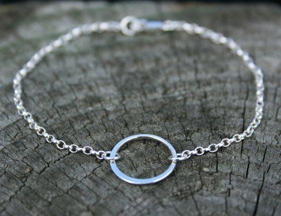 Sterling silver karma circle bracelet. Eternity ring bracelet.  £12.00
