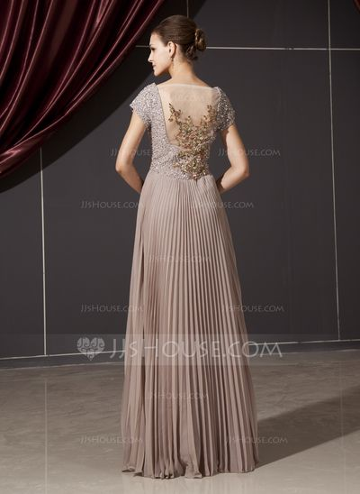 A-Line/Princess V-neck Floor-Length Chiffon Tulle Mother of the Bride Dress With Ruffle Beading Appliques Sequins (008014237)