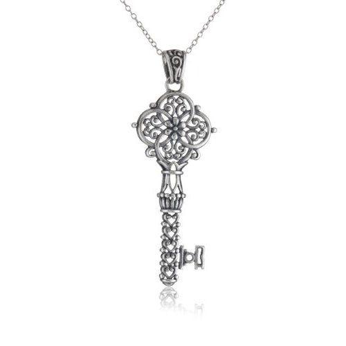 "Sterling Silver Filigree Key Pendant, 18"": Jewelry: Amazon.com"