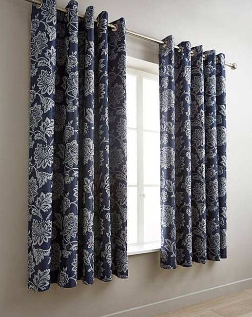 Navy Orla Jacquard Curtains Silver Curtains Curtains Lined Curtains