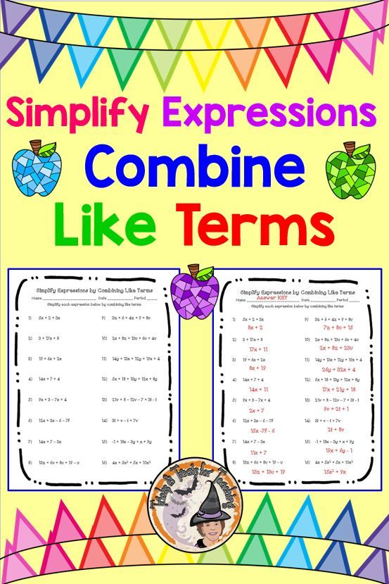 Simplify Expressions Combine Like Terms Worksheet Answer Key Simplifying Expressions Combining Like Terms Like Terms