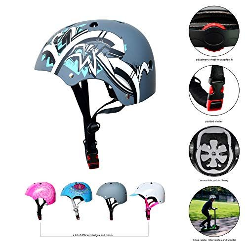 Sc Skateboard Bmx Bike Helmet For Kids Adults 20 Designs Graffiti Gray Size S Skullcap In 2020 Kids Cycle Kids Helmets Ordinary Bicycle