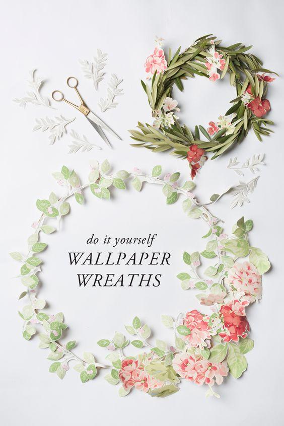 DIY wallpaper wreaths