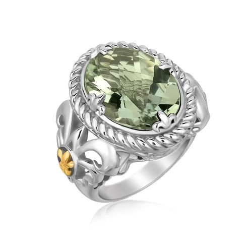 Sterling Silver Oval Green Amethyst Fleur De Lis Style Ring 18K Yellow Gold Accents