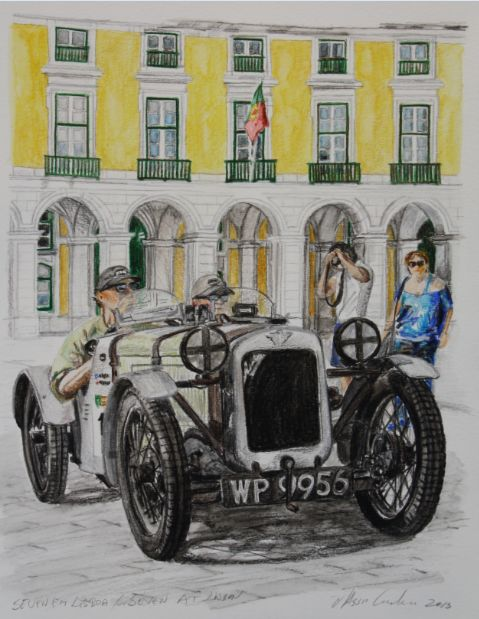 """Seven em Lisboa / Seven at Lisbon""  Angus Forsyth - Marcus Atkinson  Austin 7 Ulster  Clássic Rally London Lisboa  Terreiro do Paço, Lisboa 2013  Water Colour pencil on Canson 400gr paper 32X41cm - https://www.facebook.com/photo.php?fbid=460343217376343=a.458701337540531.1073741826.187788287965172=1"
