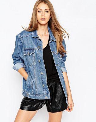 ASOS - Giacca girlfriend di jeans lavaggio medio stone wash ... 92f30ac64302