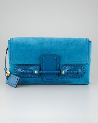Suede Fold-Over Clutch Bag, Prussian Blue by Alexander McQueen at Bergdorf Goodman.