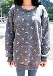 Casual Long Sleeve Round Collar Stars Print Women's Sweatshirt