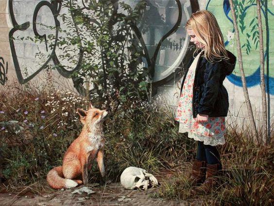 Hipergerçekçi ressam Kevin Peterson, vahşi hayvanları ve küçük kızları resimleriyle doğanın yok oluşunda bir araya getiriyor. Galeri ajanimo.com'da.. #ajanimo #ajanbrian #hayvan #animal #sanat #art