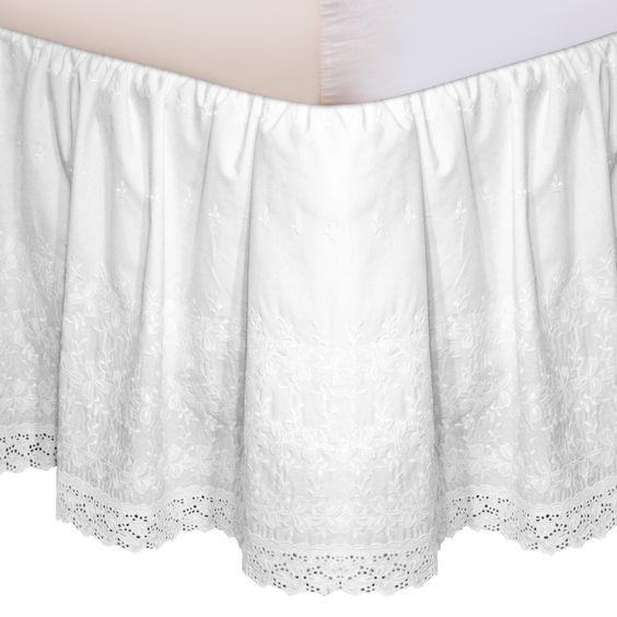 Embroidered Bed Skirt in Taupe