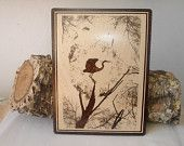 """Portrait in pyrography (draw the fire) - """"Stork in the tree """"."""