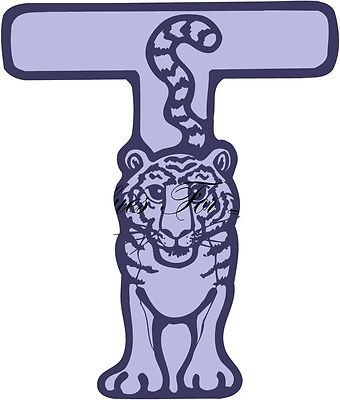 """T is for Tiger Custom Animal Alphabet Wall Vinyl with Name 12"""" x 12"""""""