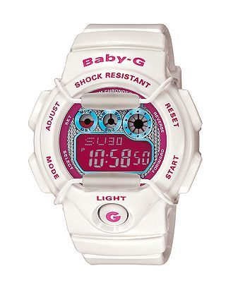 Baby-G Watch, Women's Tropical Paradise White Resin Strap BG1005M-7