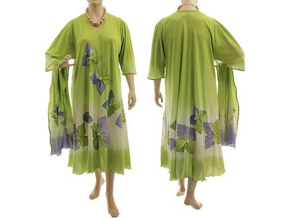Boho hand dyed maxi dress with scarf wedding summer von classydress