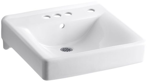 "Soho 20"" x 18"" Wall-Mount/Concealed Arm Carrier Arm Bathroom Sink with 4"" Centerset Faucet Holes and Right-Hand Soap Dispenser Hole"