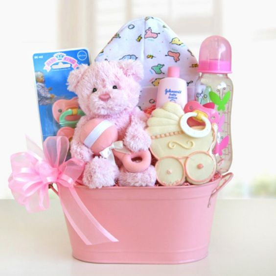 Cuddly Welcome for Baby Girl Gift Basket