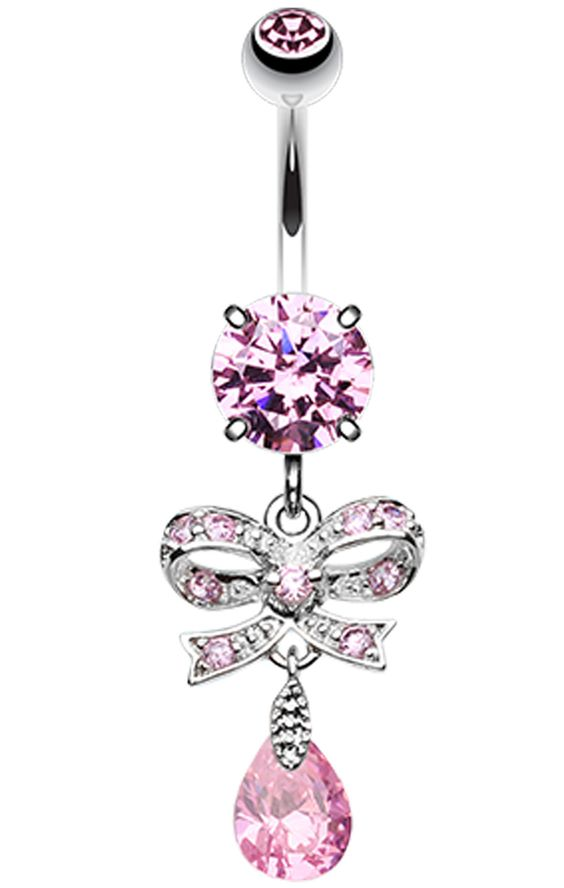 Romantic Glass-Gem Bow-Tie Belly Button Ring