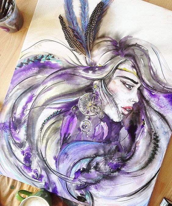 Hello gorgeous  this beauty is made by model and artist Ana Kuni. #southafricanart #watercolour #capetownart #art #bohogirl