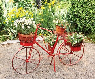 Red metal bicycle plant stand outdoor ideas pinterest plant stands plants and style - Bicycle planter stand ...