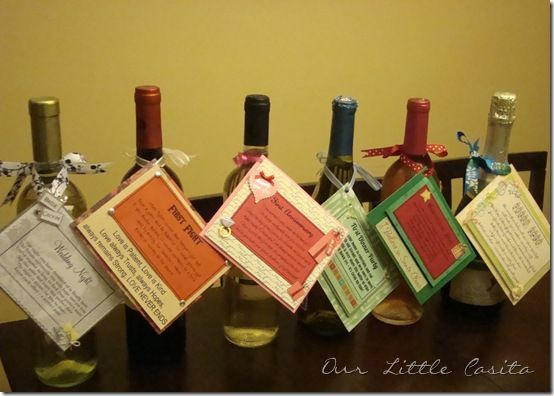 Great bridal shower gift ~ bridesmaids give the bride a gift basket that includes six bottles of wine or alcohol to celebrate occasions that lie in their future ~ each bottle has a poem attached: Engagement Gift, Wine Gift, Wedding Gift, Wine Poem, Bridal Shower Gifts, Gift Bridesmaids
